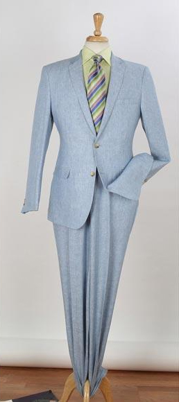 Men's 2 Buttons Blue 2 Piece Single Breasted Notch Lapel Side Vents Slim Fit Men's 2 Piece Linen Causal Outfits Suit / Beach Wedding Attire For Groom