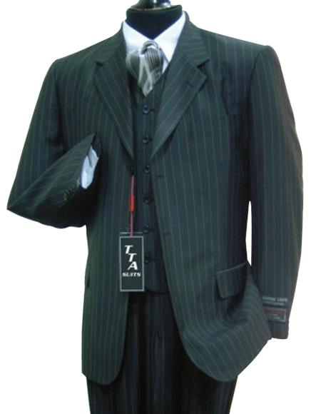 Wide Pinstripe In Dark Grey Masculine color Grey Vest Included Available in 2 Buttons Style only