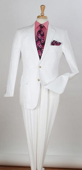 Men's 2 Buttons White 2 Piece Single Breasted Notch Lapel Side Vents Regular Fit Men's 2 Piece Linen Causal Outfits White Suit / Beach Wedding Attire For Groom - men's All White Linen Suit