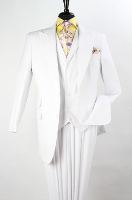 Product# QF1A2 3 Piece Vested Fashion three piece Suit ( Jacket and Pants)  For Men - Wool Fabric Feel with Peak Lapel Pure White Pleated Slacks Pants