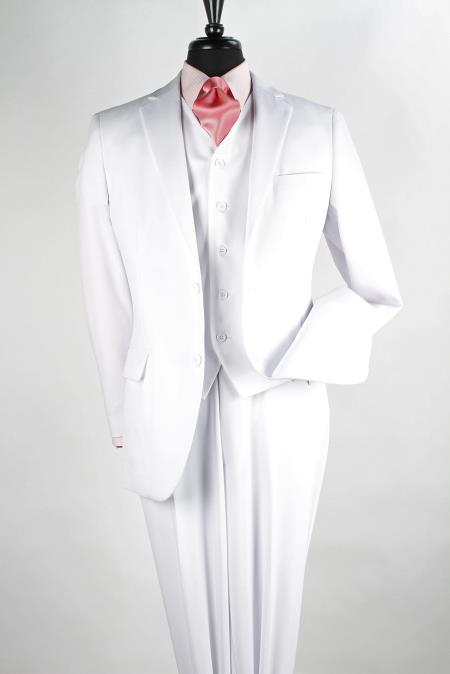 Product# SV2W4 3 Piece Poplin Discount three piece Suit ( Jacket and Pants)  For Men - Pure White