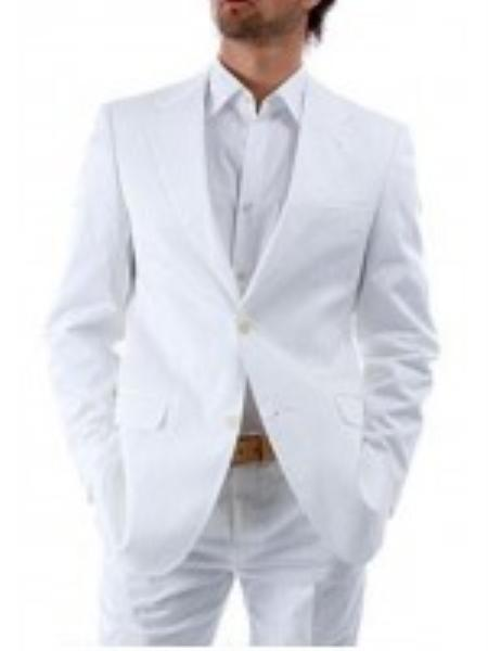 Product# VT7834 Suit 2-Button White Suit + White Shirt