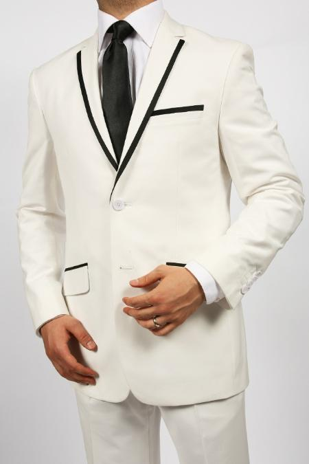 Product# KA4356 2 Button Style White Tuxedos Suit Jacket & Pants With Liquid Jet Black Trim Lapel