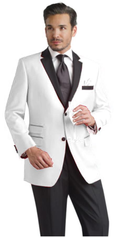Product# REQ2 White Two toned 2 Button Style Notch Party Suit & Tuxedo & Dinner Jacket Blazer Online Sale W/ Liquid Jet Black Lapel + Free Pant