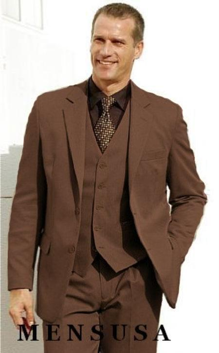 Product# Ka1165 High Quality Chocolate brown color shade 2 Btn Vested Poly Rayon Three Piece Suit Notch Lapel