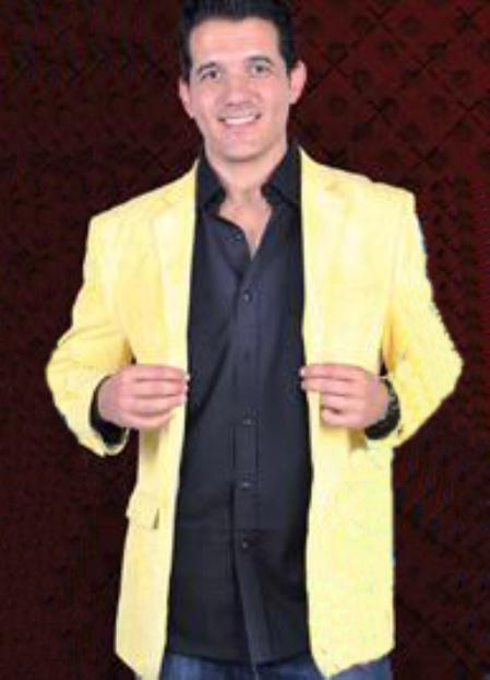 Cotton/Rayon 2 Button Style Sport Coat Notch Lapel Side Vents Yellow