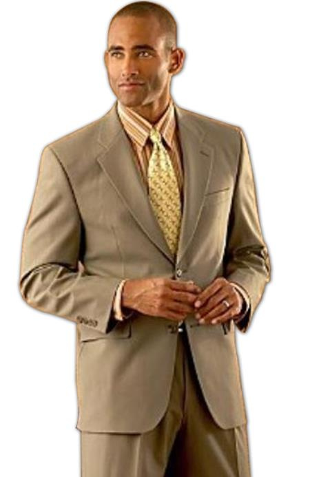 Coffe Tan khaki Color ~ Beige/ 2 Button Style Superior Fabric Wool Fabric Double Side Vent