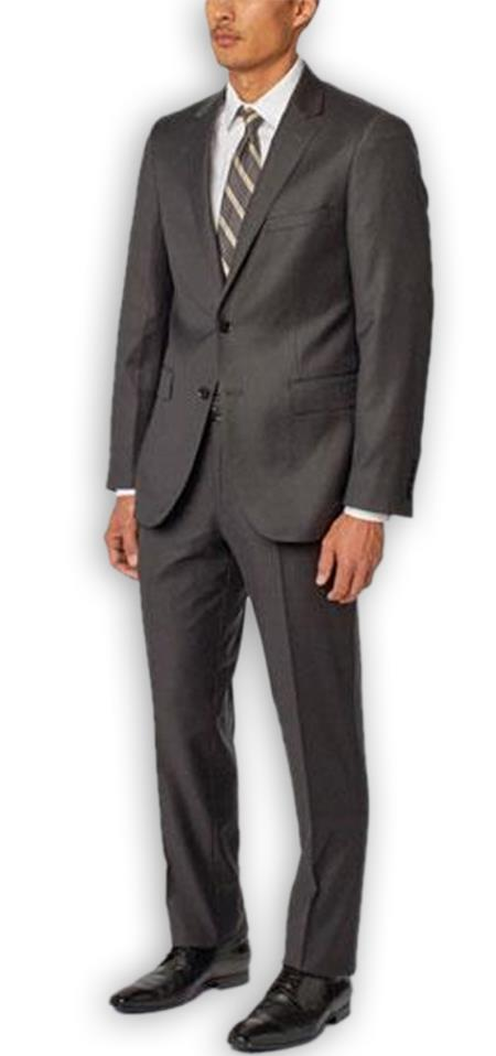 Men's Enzo Tovare Authentic Brand Charcoal Single Breasted Notch Lapel 100% Wool Double Vent Two Piece Suit