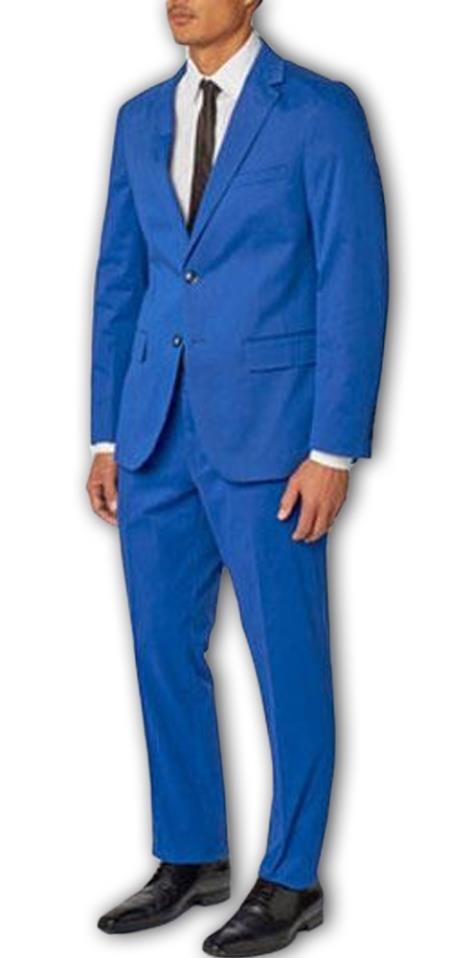 Men's Enzo Tovare Authentic Brand French Blue Single Breasted Notch Lapel 100% Cotton Double Vent Two Piece Suit