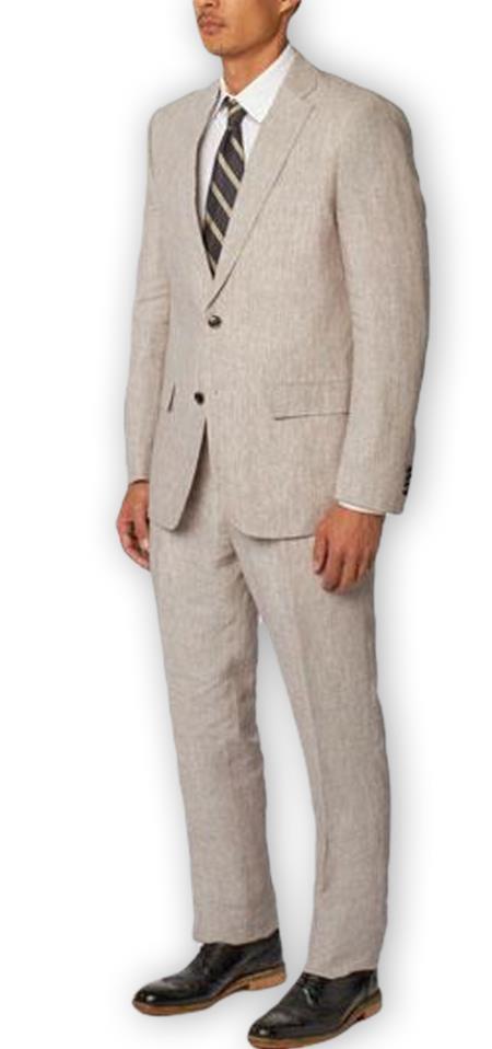 Men's Enzo Tovare Authentic Brand Gray Single Breasted Notch Lapel 100% Linen Double Vent Two Piece Suit
