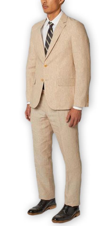 Men's Enzo Tovare Authentic Brand Single Breasted Notch Lapel 100% Linen Double Vent Two Piece Natural Suit