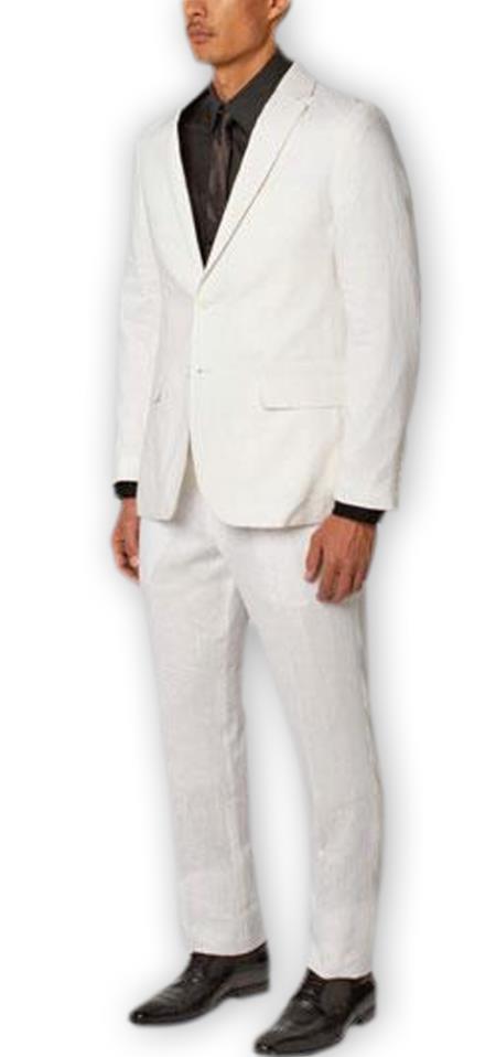 Men's 2 Buttons Enzo Tovare Authentic Brand White Single Breasted Notch Lapel 100% Linen Double Vent Two Piece Suit- men's All White Linen Suit