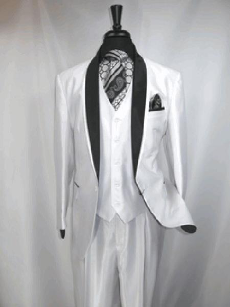 RA95 Two Toned formal tux Jacket and Vest Suit Black,White Clearance Sale Online