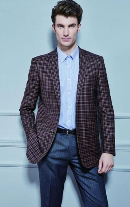 Window Pane Pattern Blazer