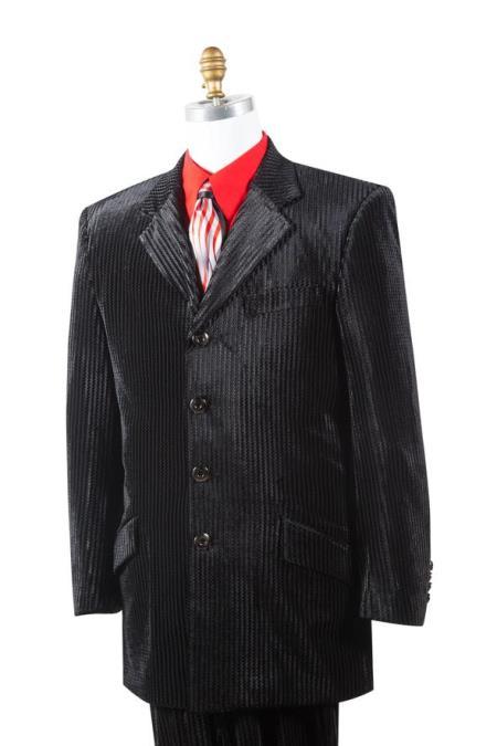 Mens Textured Velvet Black