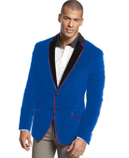 Product# V-17Q Velvet Velour Blazer Online Sale Formal formal tux Jacket Sport Coat Two Tone Trimming Notch Collar royal blue pastel color