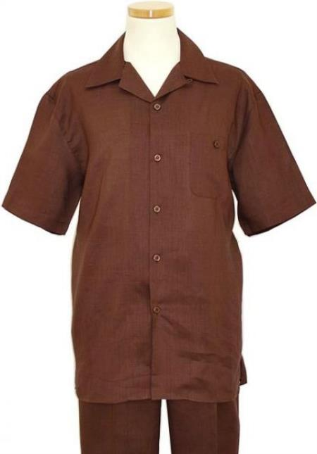 Product# RM1347 Linen 2 Piece Summer Walking trendy casual Suit Short sleeve Shirt + Pants Brown