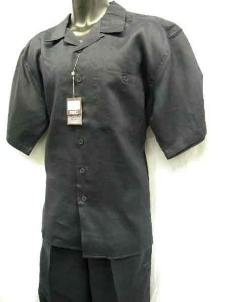 2 Piece Linen Short Sleeve trendy casual Big Size Walking Suit Navy