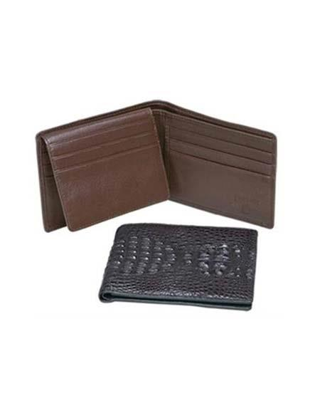 Product# AA381 Ferrini Genuine Hornback Crocodile Card Holder Wallet Black,brown color shade