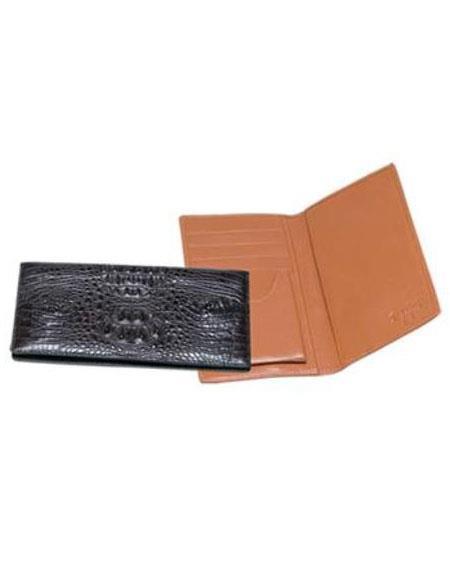 Product# AA383 Ferrini Genuine Hornback Crocodile Checkbook Wallet Black,brown color shade