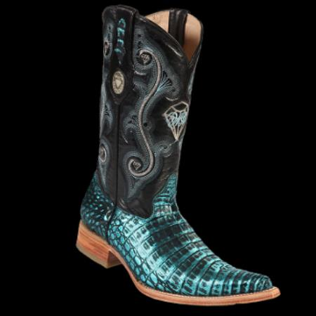 Product# KA6983 New Reg: $795 discounted Online Sale clearance diamonds Boots-Crocodile ~ Alligator skin Belly  3x-Toe Cowboy Boots - Liquid Jet Black turquoise ~ Light Blue Stage Party