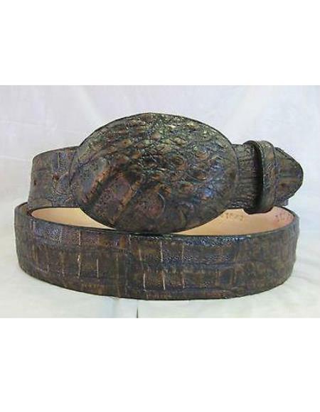 Genuine Authentic Liquid Jet Black brown color shade Crocodile Western Cowboy Belt