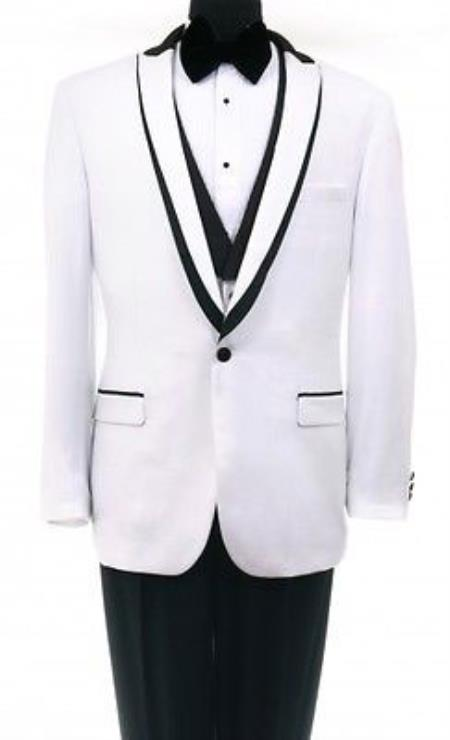 Bryan Michaels Flat Front Trousers Shawl collar White One Button Tuxedo Clearance Sale Online