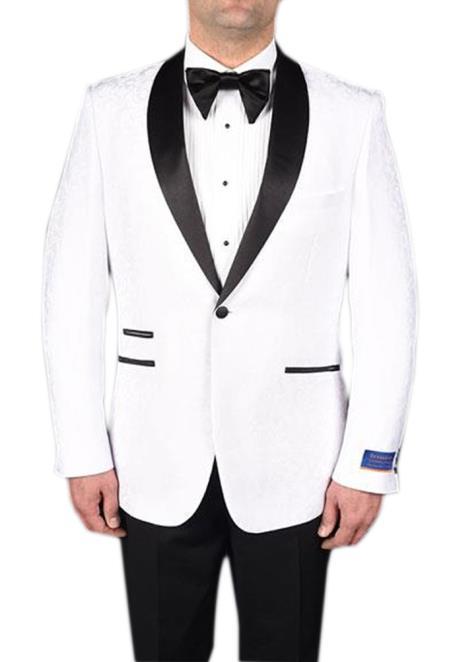 men's White 1 Button Tuxedo Modern Geometric Pattern Super 150's Viscose Blend Dinner Jacket