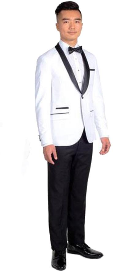 Men's Single Breasted White Slim Fit 1 Button Tuxedo with Black Shawl Lapel Clearance Sale Online