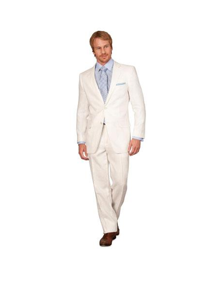 Classic Fit Men's 2 Piece Linen Causal Outfits Boys And Men Suit - White / Beach Wedding Attire For Groom