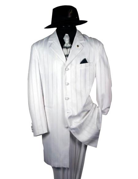 Shiny Flashy White And White Stripe ~ Pinstripe tone on tone Shadow Stripe Fashion Dress Boys And Men Suit for Online