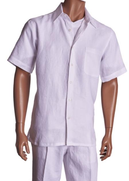 Product# Isch35 Linen White trendy casual Walking Suit Set all white outfits for (Shirt & Pants Included )