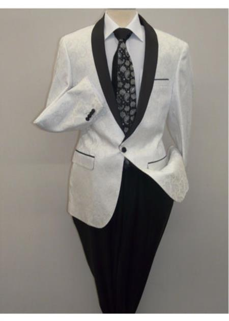 Product# SD213 Mens Insomnia ,Manzini White Blazer Unique Shiny Fashion Prom Paisley Performer Formal Stage Perfect For Prom Clothe - Prom Outfits For Guys