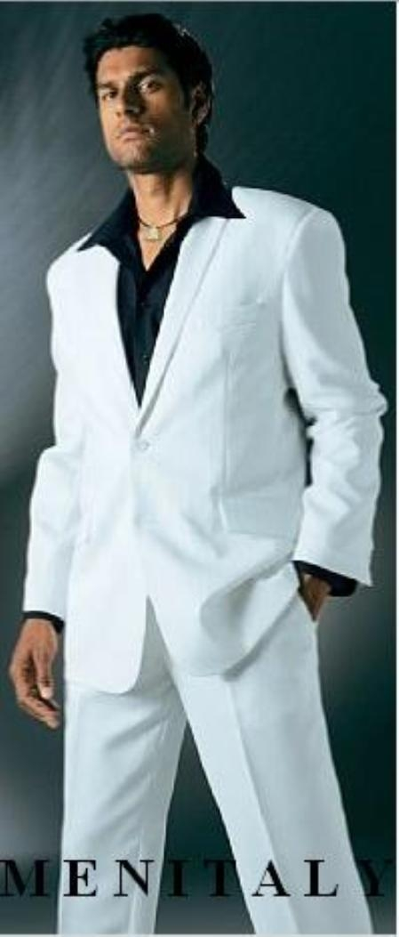 FF-3V White Suit With Flat Front No Pleat Pants With Free Matching Liquid Jet Black shirt (picture)