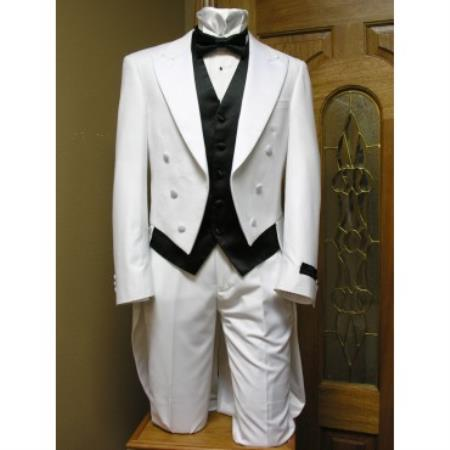 Product# AC-265 Tail formal tux Jacket and pant combination White Clearance Sale Online