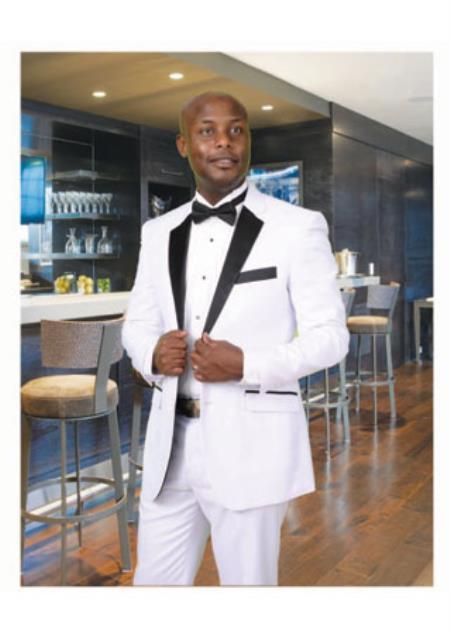 White Tuxedo with A 1/2 Liquid Jet Black Notch Lapel