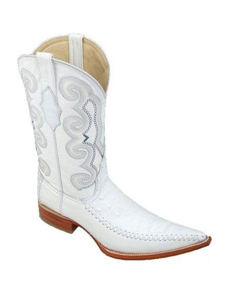 Product# JSM-4289 Bota Hombre Fashion Avestruz Imitacion White Boot for Men