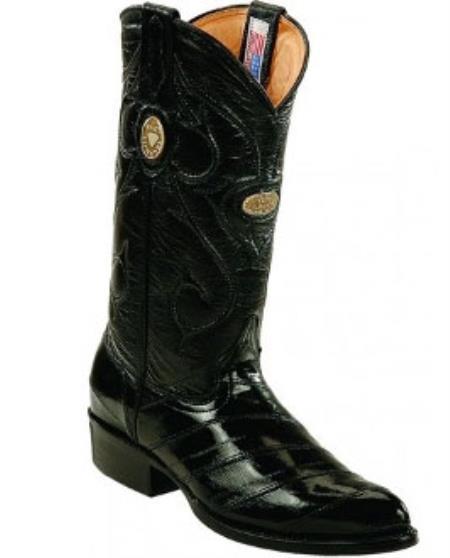 White Diamonds Handcrafted Genuine Eel Skin Liquid Jet Black Boots
