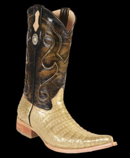 Product# RM1253 White Diamonds Genuine Crocodile Belly Leather Lining 3x-Toe Cowboy Boots Gold