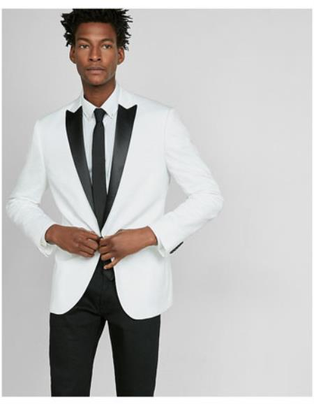 White Two Toned Dinner 1920s tuxedo style Jacket Peak Black Lapel