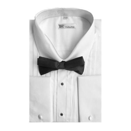 Mens Tuxedo Shirt Dress Shirt with Bow-Tie Set French Cuff White