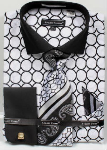 Avanti Uomo Printed Pattern French Cuff Dress Shirt White