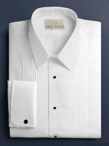 Product# SM1209 Dalby Solid Pleated Slacks Laydown White Tuxedo Shirt With Pleats