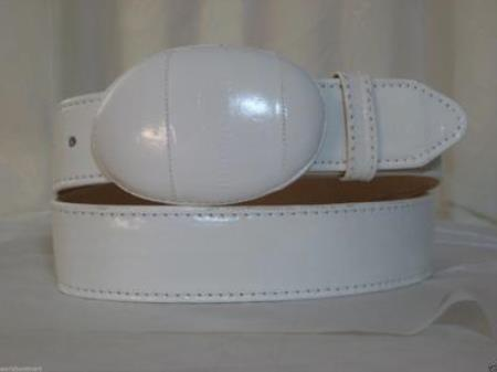 Product# JR15W Genuine Authentic Faded White Eel Skin Western Cowboy Belt
