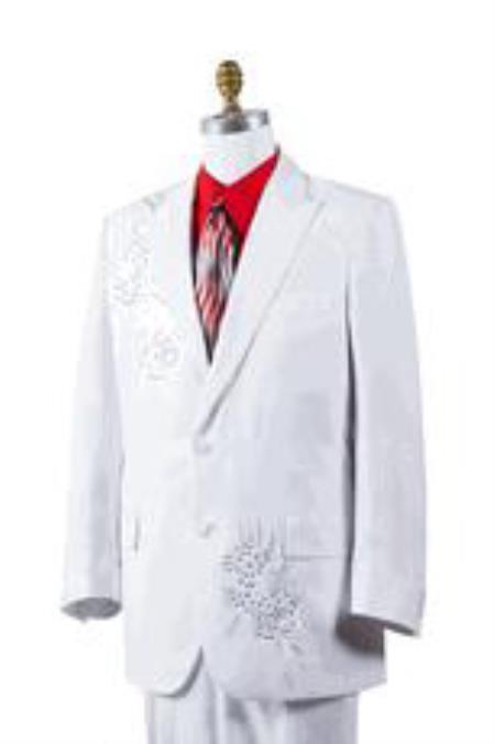 White Poly Woven Rhinestone Entertainer Athletic Cut Suit ( Jacket and Pants)  For Men Classic Fit