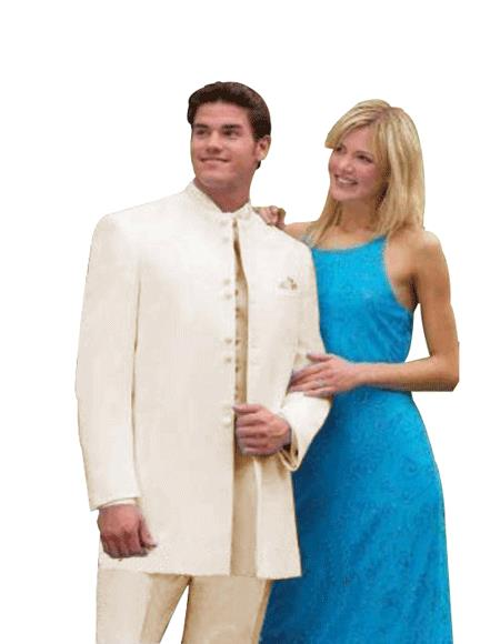 Best Quality no collar mandarin Collar Off/Ivory White no collar mandarin Suit For sale ~ Pachuco men's Suit Perfect for Wedding