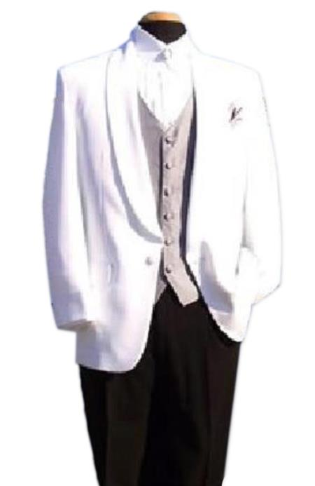 Snow White One-Button Front, Shawl Lapel Dinner Jacket