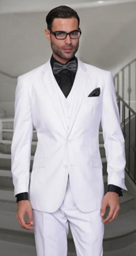 Product# PNI52 Pleated Slacks Panted Feel Poly-Rayon Vested 3 Piece Suit ( Jacket and Pants)  For Men White Regular Cut