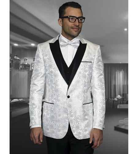 Floral White Unique Shiny Fashion Prom Satin Tuxedo Dinner Jacket Blazer Online Sale Paisley Sport Coat Sequin Shiny Flashy Silky Satin Stage Fancy Stage Party Dance Jacket Perfect For Prom Clothe - Prom Outfits For Guys