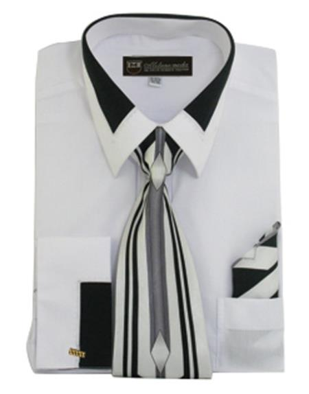 Product# JSM-649 Men's French White Cuff Matching Tie and Hanky Set